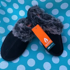 SUEDE FAUX FUR COMFY SLIPPERS